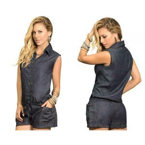 Mapale Blue Denim Sleeveless Romper Button Front